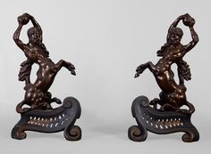 Antique pair of andirons in brown patina bronze with centaurs (Reference - Available at Galerie Marc Maison Architectural Antiques, Mythological Creatures, Centaur, Upper Body, French Antiques, Cast Iron, 19th Century, Rome, Bookends