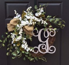 Front Door Wreath - Monogram Wreath - Summer Wreath - Spring Wreath - Everyday Wreath - Year Round Wreath - Wreath with Initial - Wreath by WeatheredFreeDesigns on Etsy https://www.etsy.com/listing/521130267/front-door-wreath-monogram-wreath-summer