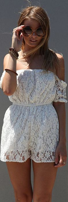 OFF THE SHOULDER PLAYSUIT another adorable #playsuit #lace #white