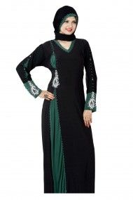 Lycra Party Wear Abayas in Black and Green Colour