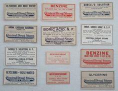 12 Antique Pharmacy and Drug Labels, Vintage Apothocary, Antique Medical Labels