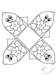 Koszyczek wielkanocny z kurcząt i kwiatów