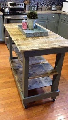 DIY pallet kitchen ideas furniture using wood pallets that had been around for d. DIY pallet kitchen ideas furniture using wood pallets that had been around for decades as mechanisms for shipping. Pallet Island, Pallet Kitchen Island, Kitchen Island Cart, Kitchen Islands, Island Bench, Pallet Counter, Kitchen Cabinets, Diy Pallet Kitchen Ideas, Kitchen Tiles