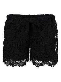 Sale 10% (14.88$) - Lace Hem Crochet Shorts For Women Beach Hollow Out Short Pants