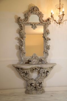 French mirror with console. Wooden Door Design, Wooden Doors, Art Nouveau Furniture, Antique Furniture, Antique Wardrobe, French Mirror, Vintage Mirrors, Rococo Style, Mirror Art