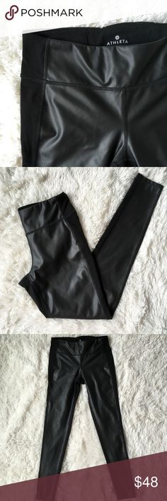 🤸🏼♀️Athleta Gleam Tight Pleather Leggings Athleta Pleather Leggings Size: EXTRA SMALL Excellent pre-owned condition  These stylish leggings are super cute! Front panel is fake leather and backside is regular yoga material.   ▫️Materials/Care in photos (laying flat) ▫️Measurements in photos  Can be worn to work out or as an edgy outfit!  💜My home is smoke and pet free Athleta Pants Leggings