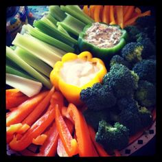 Bell peppers used for veggie dip bowls
