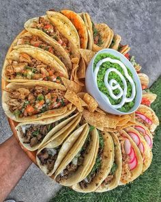 Awesome platter of tacos with Guacamole.