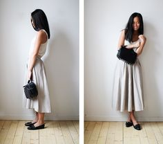 Image result for mid length skirt and flats