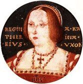 Miniature portrait of Katharine of Aragon in later life.