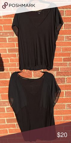 Banana Republic Black Top Very cute and goes sheer in the back around the sleeve area. Comes from a smoke free and pet free home. Moving soon so I need sell as quickly as possible. Accepting all reasonable offers but please use the offer button. Banana Republic Tops Blouses