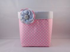 Pink and White Polka Dot Fabric Basket With Gray by wildfleurdelis