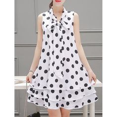 Sweet Style Bow Collar Sleeveless Polka Dot Print Layered Women's Dress