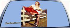 Elvgren Skirt Caught On Fence Pinup Girl Custom Rear Window Graphic
