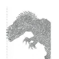 Dinosaur Jentangle Drawing on Samsung Galaxy S4 cell phone - Creations by JDB