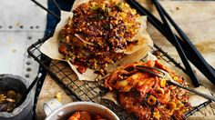 Serious kick: pork and kimchi fritters with spicy soy sauce.