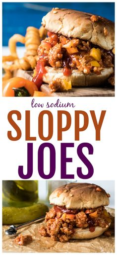 Stop eating high sodium dinners! Create these homemade low sodium sloppy joes qu… Stop eating high sodium dinners! Create these homemade low sodium sloppy joes quickly and easily for an amazing dinner. Everyone loves these sloppy joes! No Sodium Foods, Low Sodium Diet, Low Sodium Recipes, Diet Recipes, High Sodium, Low Cholesterol Recipes Dinner, Low Carb, Cholesterol Diet, Low Sodium Meals