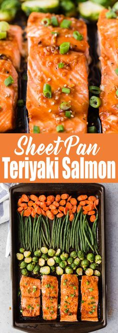 Sheet pan Teriyaki Salmon (Meal Prep) is so packed with delicious flavors! I'm in love! #salmon #fish #sheetpanmeal #mealprep #seafood #salmonandveggies