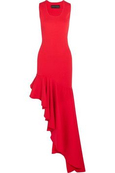 ce97799724 Michael Lo Sordo - Legion asymmetric ruffled stretch-knit maxi dress