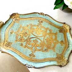 Large Florentine tray gold gilt turquoise hand by Kimscottageloft
