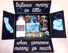 Cute long distance gift box to send to your loved one. Cute long distance gift box to send to your loved one. Gifts For Boyfriend Long Distance, Long Distance Best Friend, Long Distance Relationship Gifts, Long Distance Gifts, Presents For Boyfriend, Birthday Gifts For Boyfriend, Long Distance Birthday, Relationship Crafts, Best Gift For Boyfriend