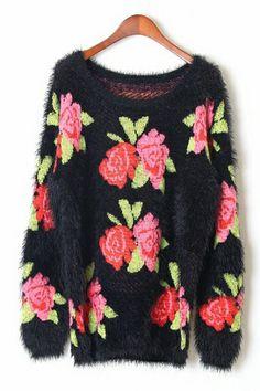 Rose Graphic Sweater OASAP.com