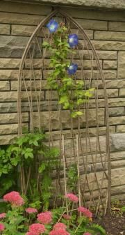 Creative garden features you can DIY for free using twigs, sticks, and branches. Ideas include trellises and plant supports as well as garden artwork Garden Art, Easy Backyard, Garden Projects, Garden Structures, Plants, Garden Dividers, Diy Garden Trellis, Vertical Garden, Garden Features