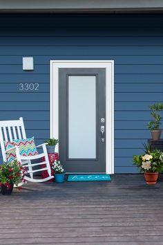 Fiberglass door with Blanca Decorative Glass in Colony Finish by Jeld-Wen Wood Entry Doors, Garage Doors, Front Entry, Exterior Doors, New Homes, Decorative Glass, Outdoor Decor, Home Decor, Decoration Home