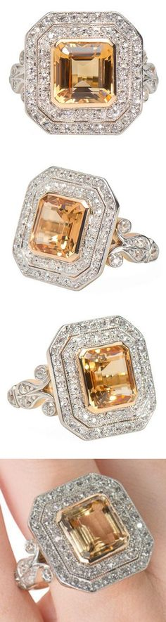 Regalia - Art Deco Topaz Diamond Ring Circa 1925.