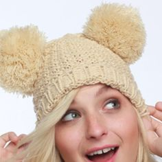 01500d0b2c80 Double pompom beanie Pompom crocheted beanie is adorable and features  double pompom detail that resembles Mickey