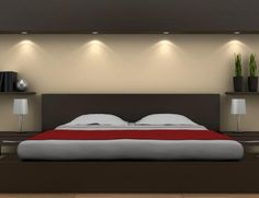 Minimalist red and brown bedroom ideas.  I think this kinda simple room palate would look great with a large painting of red poppies above the headboard as the focal point