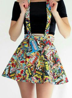 Marvel Suspender Skater Skirt – Spikes and Seams - Overalls Marvel Suspender Skater Skirt - Visit to grab an amazing super hero shirt now on sale! ◊ ◊ Take your inner nerd to the next level with this suspender skirt ◊ ◊ ⟫ Adjustable suspender Cute Fashion, Look Fashion, Fashion Outfits, Womens Fashion, Nerd Fashion, Diy Clothes, Clothes For Women, Nerd Clothes, Marvel Clothes