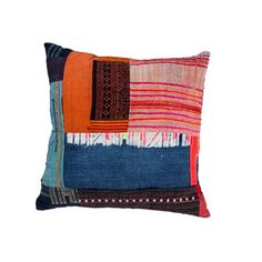 This beautiful vintage patchwork textile was once part of a garment worn by tribal women in Thailand. They are known for their traditional textiles which often features cross-stitching and indigo block printing. These have been given a second life and have beentransformed into textural, bright pillows. #pillows #artisan #handmade