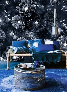 Ellie Cashman Moonlight Meadow designer wallpaper in Blue Ink. Visit www.thewonderinus.com {blog} and www.elliecashmandesign.com {shop}.