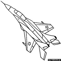 Military Jet Fighter Airplane Coloring Page