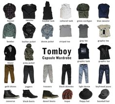 Capsule Wardrobe for Tomboys. How to combine only 32 pieces of clothing to create a capsule wardrobe. This is a tomboy inspired wardrobe. Best Picture For Tomboy Outfit for school For Your Taste You a Tomboy Chic, Tomboy Fashion, Tomboy Look, Queer Fashion, Fashion Outfits, Tomboy Style, Butch Fashion, Androgynous Fashion Women, Boyish Style