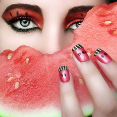 Watermelon Inspired Eyes and Nails