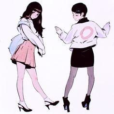2girls black_hair closed_eyes fashion full_body high_heels ilya_kuvshinov long_hair looking_at_viewer multiple_girls original pantyhose short_hair simple_background standing