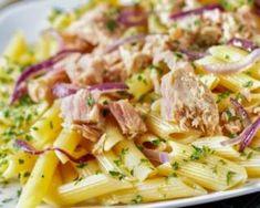 Salade de pâtes au thon spécial masse musculaire : http://www.fourchette-et-bikini.fr/recettes/recettes-minceur/salade-de-pates-au-thon-special-masse-musculaire.html