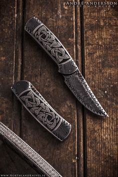 Folded Viking by Andre Andersson.  WOW! Model: Linerlock Total length: 17cm Length folded: 9,5cm Materials: Engraved stainless steel, copper inlays and etched damascus. Neodymium magnet holding the folded blade in it´s place.
