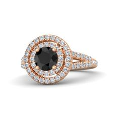 Eloise Ring customized in black diamond, diamond, and 18k rose gold