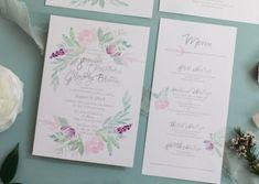 Romantic watercolor semi custom invitation suite Invitation Suite, Custom Invitations, Wedding Invitations, Summer Flowers, Wedding Flowers, Romantic, Watercolor, Masquerade Wedding Invitations, Watercolor Painting