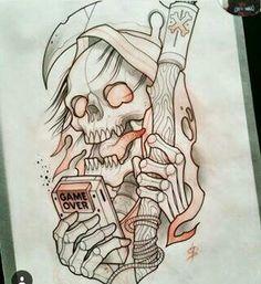 Evil Skull Tattoo, Grim Reaper Tattoo, Skull Tattoos, Body Art Tattoos, Sleeve Tattoos, Sketch Tattoo Design, Tattoo Sketches, Tattoo Drawings, Art Sketches