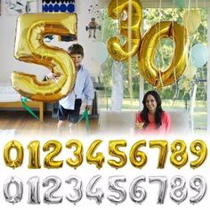 32inch Gold Silver Number foil balloons digital air ballons Happy Birthday decoration letter globo Wedding Event party supplies
