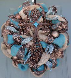 Cross Wreath, Religious Wreath, Easter Wreath, Spring Wreath, Summer Wreath, Turquoise Burlap Wreath on Etsy, $110.00