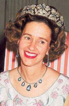 Queen Fabiola, Queen consort of the Belgians and wife of King Baudouin, wearing the Spanish Wedding Gift Tiara (aquamarine floral setting), Belgium (ca. 1960; diamonds, aquamarines). Optional emerald and ruby inserts.