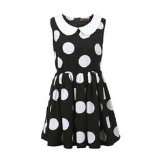 Block Dots Peter Pan Collar Dress ($48) ❤ liked on Polyvore featuring dresses, vestidos, black, block print dress, zipper dress, puffy dresses, color block dress and colorblock shift dress