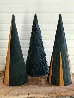 Use leather scraps and cardboard cones to make Leather Christmas Trees. Cardboard Tree, Cardboard Christmas Tree, Cone Christmas Trees, Diy Christmas Ornaments, Christmas Decorations, Holiday Decor, Diy Leather Projects, Leather Diy Crafts, Diy Leather Ornaments