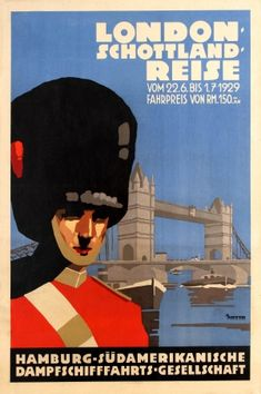 Hamburg Sud London Scotland Anton 1929 - original vintage poster by Ottomar Anton listed on AntikBar.co.uk