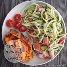 crab & avocado zoodles – My Skinny Sweet Tooth Lunch Recipes, Seafood Recipes, Paleo Recipes, Asian Recipes, Cooking Recipes, Paleo Food, Asian Foods, Veggetti Recipes, Clean Eating
